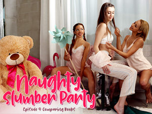 LezCuties - Veronica Leal,Vanna Bardot,Lina Luxa - Naughty Slumber Party: Comparing Boobs